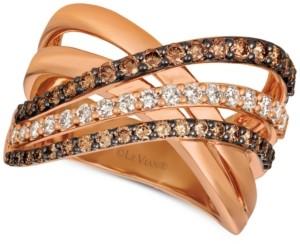 LeVian Le Vian Creme Brulee Diamond Crisscross Ring (1-1/6 ct. t.w.) in 14k Rose Gold