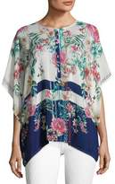 Johnny Was Athens Henley Floral-Print Top