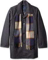 Tommy Hilfiger Men's Tall Size Wool Melton Walking Coat with Detachable Scarf