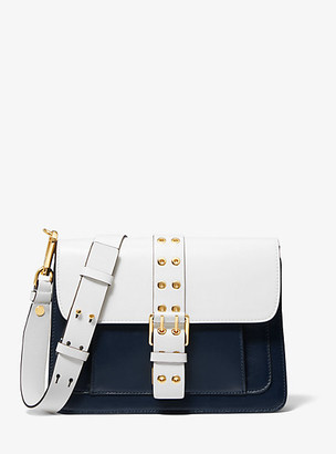Michael Kors Simone Two-Tone Leather Belted Shoulder Bag - Midnight