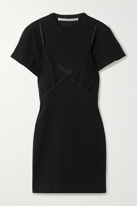 Alexander Wang Cutout Lace-trimmed Cotton-jersey Mini Dress - Black