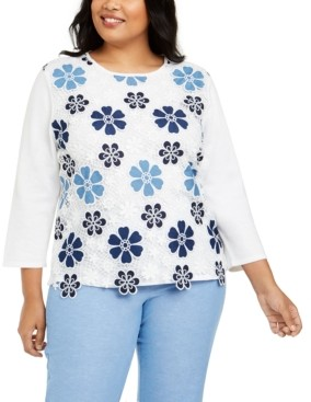 Alfred Dunner Plus Size Pearls of Wisdom Lace Flower Top