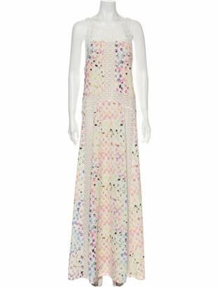 Alexis Printed Long Dress w/ Tags White
