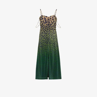 House of Holland Cheetah Print Ombre Silk Midi Dress