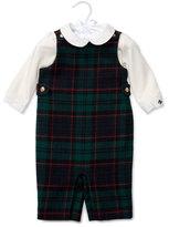Ralph Lauren Plaid Wool Overalls w/ Pima Playsuit, Black, Size 9-24 Months