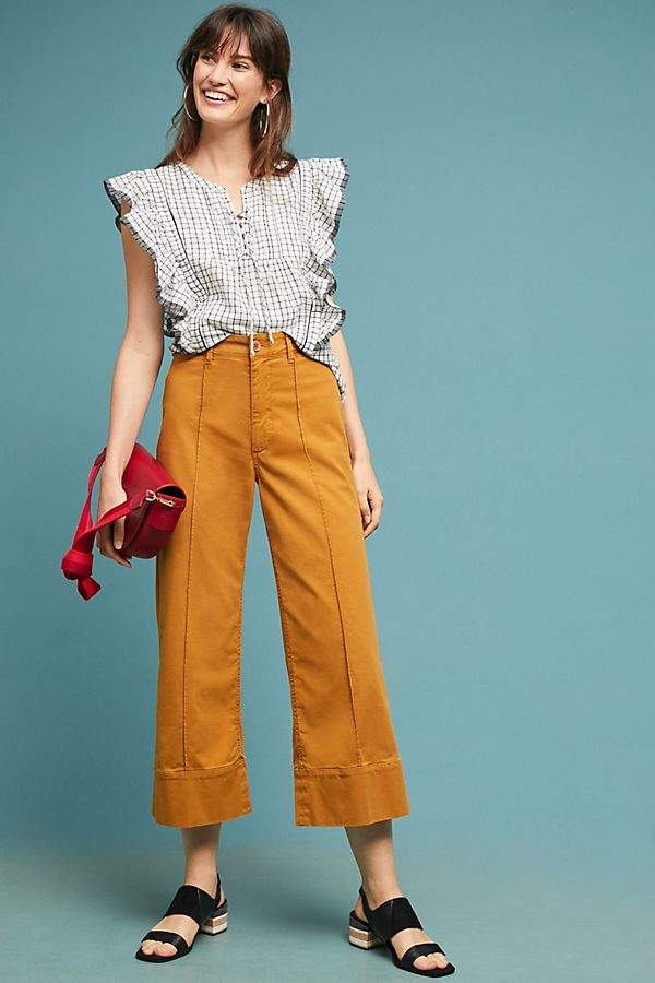 Anthropologie Chino By Cropped Wide-Leg Chino Trousers