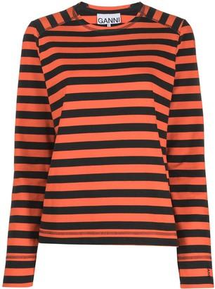 Ganni striped organic-cotton long-sleeve T-shirt