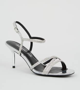 New Look Diamante 2 Part Strappy Stiletto Heels