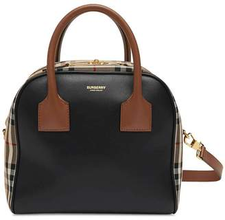 Burberry leather and check print cube bag