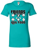 Go All Out Screenprinting Medium Turquoise Juniors Friends Not Food Vegetarian Vegan Animal Lovers T-Shirt