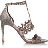 Alaia Laser-cut embellished lizard sandals