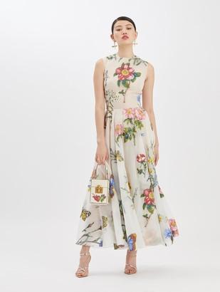 Oscar de la Renta Fil Coupe Printed Midi Dress