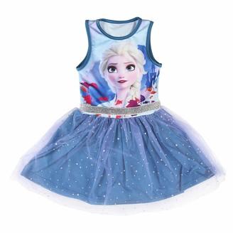 Disney Frozen 2 Dress Elsa Girls Short Sleeve Dress 3D Sparkly Ballet Tutu Tulle Skirt Kids Birthday Party Fancy Dress Casual Princess Summer Dress Gift for Girls