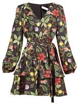 Borgo de Nor Olivia Tropical-print Tie-waist Silk Mini Dress - Womens - Black Multi