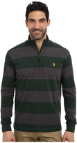 U.S. Polo Assn. Striped Rib Mock Neck 1/4 Zip Pullover