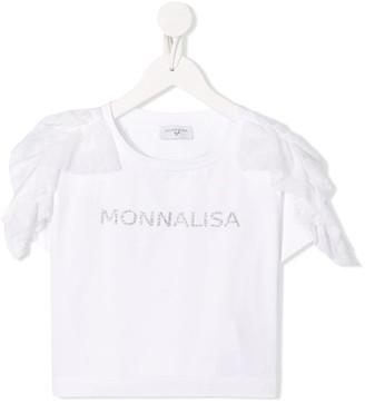 MonnaLisa TEEN ruffle-trimmed glitter logo T-shirt