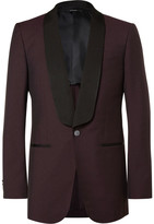 Dunhill - Burgundy Slim-fit Slub Wool Tuxedo Jacket