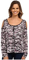 DKNY Women's Brushed Floral Printed Cold Shoulder Top