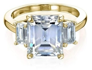 Annello by Kobelli 14k Gold 4.1 Carat TGW Three Stone Emerald-cut Forever One Moissanite Engagement Ring