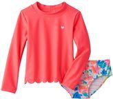 Carter's Toddler Girl Long Sleeve Scallop Trim Rashguard & Tropical Flower Swimsuit Bottoms Set