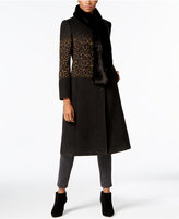 Jones New York Leopard-Print Midi Coat with Faux-Fur Scarf