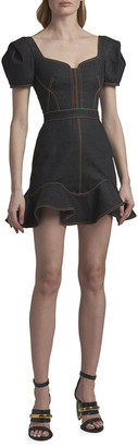 Alexander McQueen Ruffled Denim Mini Dress with Contrast Stitching
