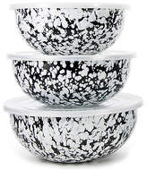 Golden Rabbit Asst. of 3 Swirl Mixing Bowls with Lids - Black/White