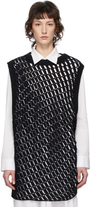 Y's Ys Black Knit Sleeveless Crewneck Sweater