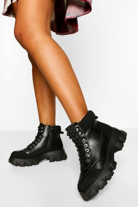 boohoo Panel Detail Lace Up Hiker