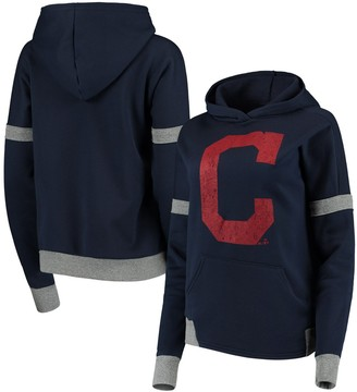 Majestic Women's Threads Navy/Gray Cleveland Indians Iconic Fleece Pullover Hoodie