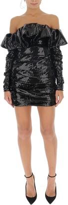 ATTICO Off Shoulder Ruffle Sequin Dress