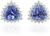 Artisan Triangle Shape Stud Earring 14Kt White Gold Genuine Diamond Tanzanite Jewelry