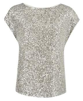 Dorothy Perkins Womens Silver Sequin T