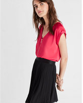 Express Silky Zip Front Rolled Sleeve Blouse