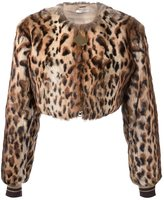 Givenchy leopard print cropped bomber jacket