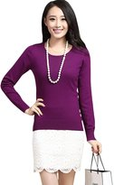 Pink Wind Women's Long-sleeved Ultra Soft Cashmere O Neck Knitted Sweater