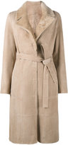Yves Salomon belted trench coat - women - Goat Skin/Lamb Fur - 36