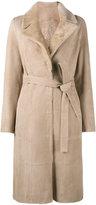 Yves Salomon belted trench coat - women - Goat Skin/Lamb Fur - 36