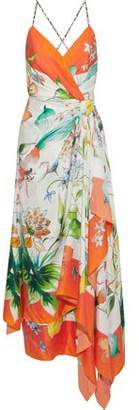 Carolina Herrera Wrap-effect Floral-print Silk Crepe De Chine Maxi Dress