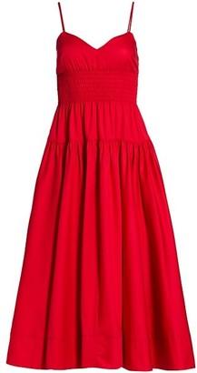 La Ligne Smocked Poplin Maxi Dress