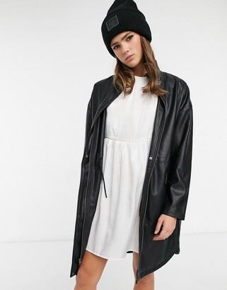 BB Dakota vegan leather anorak coat in black