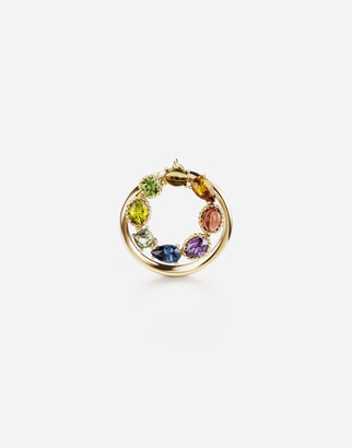 Dolce & Gabbana Rainbow Alphabet O 18 Kt Yellow Ring With Multicolor Fine Gems