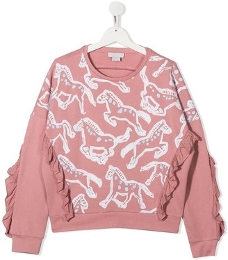 Stella McCartney Kids TEEN horses cotton sweatshirt