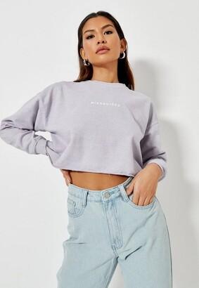Missguided Lilac Brushed Back Basic Cropped Sweatshirt