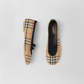 Burberry Logo Detail Vintage Check Cotton Ballerinas