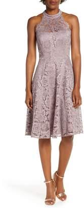 Brinker & Eliza Halter Neck Lace Fit and Flare Dress