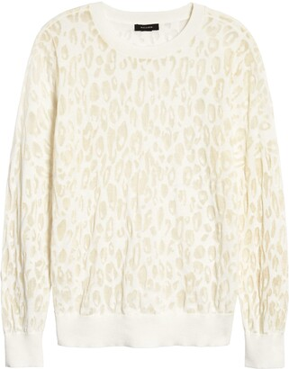 Halogen Leopard Burnout Crewneck Sweater