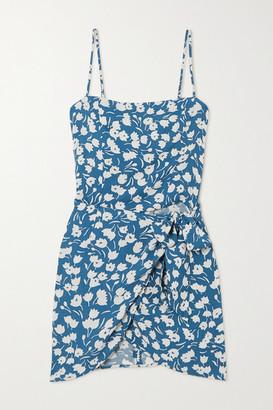 Reformation Canal Wrap-effect Floral-print Crepe Mini Dress - Blue