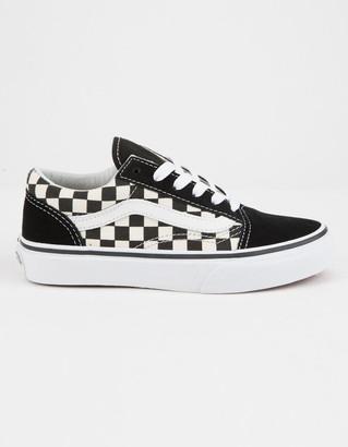 Vans Checkerboard Primary Check Old Skool Black & White Kids Shoes