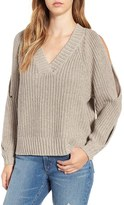 Leith Women's Ribbed Cold Shoulder Sweater